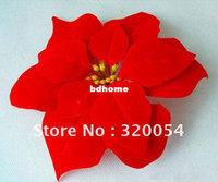 Wholesale Artificial flowers head Christmas flower Poinsettia Wedding Decoration High grade raw silk Plastic Accessories