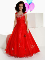pageant interview suit - 2014 New Arrival Pageant Interview Suits For Girls Cap Sleeve Red Organza Appliques Beads Long A Line Girl Pageant Dresses