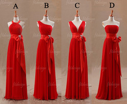 2014 free shipping custom made fashion promotion price bridesmaid dresses red chiffon ruffle A-line floor length backless high quality