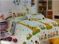 Children 100% Cotton Woven Deer giraffe bedding comforter set twin full queen size for kids duvet cover bed sheet bedspread quilt linen cartoon children animal cotton