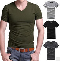 Wholesale New Fashion Men T shirts Short Sleeve Comfortable Cotton Pure Color V collar Round Collar styles Men Tees Men Tops
