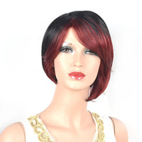 Wholesale Black Wig With Red Hightlights Women Short wigs Stype Hair Replace WG2008