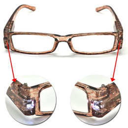 Wholesale Strength brown glasses plastic reading glasses Snake Pattern slim reading glasses with white Light to read