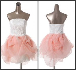 new design fabric pink tulle sexy fashion short prom dresses strapless backless free shipping cheap custom made high quality retro