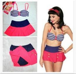 New Hot 2014 Retro Sexy High Waist Women Push up Stripe Bikini Two-piece Swimwear Swimsuit S-XL