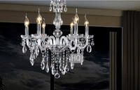 Wholesale 6 Bulbs European Candle Crystal Chandeliers Ceiling Bedroom Living Room Modern E14 Retail and