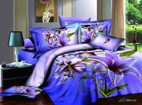 Adult Twill 100% Cotton 3D Blue purple floral bedding comforter set sets queen size bed sheet duvet cover bedspread quilt sheets 100% cotton flower lily