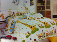 Children 100% Cotton Woven Deer giraffe bedding comforter set twin full queen size for kids duvet cover bed sheet bedspread quilt linen cartoon children animal cotton