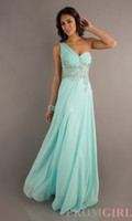 Wholesale One Shoulder Pleat Shinny Beads Aqua Teal Light Blue Chiffon Prom Dresses Vintage Big Discount Long Pink Evening Gown Cocktail Dress