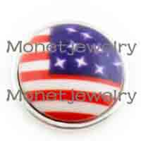 fashion jewelry usa - A02057 USA flag synthetic copper button noosa chunky bracelet women fashion jewelry