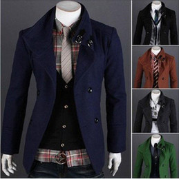 Wholesale Men s Fashion Long Section Installed New Hot Double Breasted Wool Coat