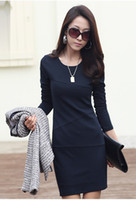 Wholesale Free transport New women s long sleeve bottoming skirt OL temperament Slim Dress