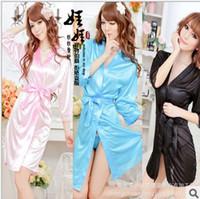 Wholesale Sexy lingerie Womens Sexy Silk Lace Kimono Bathrobe Dressing Gown Lingerie Sleepwear nightwear
