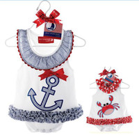 Wholesale baby rompers navy style boys girls summer short seleeve romper Sailor blue red kids clothing