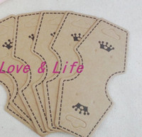 Wholesale No Logo Paper Jewelry Display Packing Card Heart Shape Brown Crown Custom Jewelry Earring Packaging Display Cards