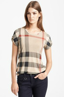 Wholesale New Brand Fashion Women T shirt Apricot Plaid Shoulder Strap Buttons Short Sleeve Tees S XXL T