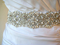 Wholesale 2014 Sash Stunning Floral Beads Crystal Rhinestone Pearl Satin Wedding Dress Belt Wedding Accessory