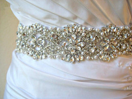Wholesale 2014 Sash Stunning Floral Beads Crystal Rhinestone Pearl Satin Wedding Dress Belt Wedding Accessory