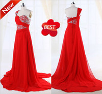 Wholesale Real pictures high quality one shoulder beaded crystal formal party prom gown sweep train red chiffon homecoming dress graduation dresses