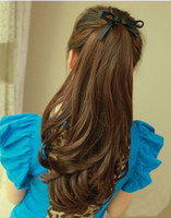 Wholesale Hot selling OFF quot india blended human hair Silky wavy Ponytail Hair black t33 deep brown t30 light brown