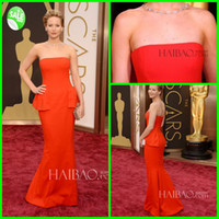 Wholesale 2014 New Arrival Consice Junoesque Delicated Strapless Mermaid Satin Sweep Train Oscars Awards Evening Dress