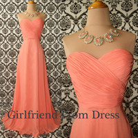 Wholesale Only Hot sale coral A line chiffon Graduation Dresses ruffles sweetheart floor length evening prom bridesmaid dresses BO6017