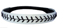 baseball seam - High quality fast bright white leather baseball softball red stitching seam real leather headbands