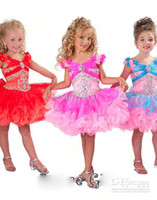 Wholesale Cute cupcake little girls pageant dresses off the shoulder knee length organza sequins beaded flower girls princess ball gowns B211