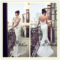 Trumpet/Mermaid Reference Images Spaghetti WOW! Sexy Mermaid Spaghetti strap Sweep Train Beading Pearls Sequins Lace 2014 Wedding Gowns Woman Prom Dresses Backless Satin Bridal Gowns