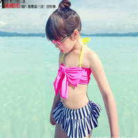 Wholesale Korean Style Summer Girl Swimsuit Sweet Girls Big Bowknot Striped Trunks Piece With Hat Girl Swimwear Clothing C1283