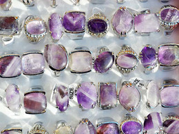 Wholesale jewelry Resale Charm Natural Amethyst Stone Silver Tone Rings