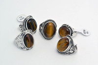 resale - jewelry Resale Charm Over Size Natural Tiger eye Stone Silver Tone Men s Rings Brand New R0024