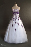 purple wedding dress - A line Sweetheart Purple Embroidery Beads Taffeta Sash Ball Gown Lace up Tulle Prom Wedding Dresses
