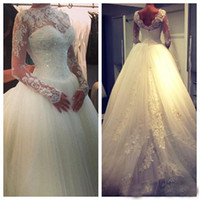Wholesale High Neck A line Tulle Court Train Wedding Dresses with Long Sleeves Applique Sheer Beaded Muslim Bridal Gowns Church Weddi