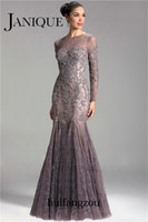 Wholesale 2014 Janique Mermaid Mother of the Bride Dresses Sheer Neck Brown Lace Appliques Beaded Illusion Back Long Sleeve Floor Length Custom Made