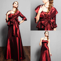 Reference Images Strapless Taffeta Sexy Elegant Plus Size Mother Of The Bride Dresses Strapless Sleeveless With Half Sleeve Jacket A-Line Floor-Length Taffeta Evening Gowns