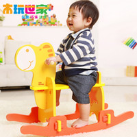 Wholesale Children s wooden play family Trojan horse shook his small wooden rocking horse toys baby toys skid