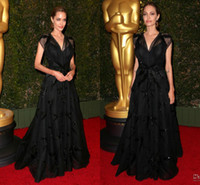 angelina jolie film - New arrival Angelina Jolie noble black A line celebrity dresses cap sleeves floor length sexy V neck formal evening prom gowns BO5068