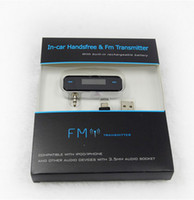 Wholesale wireless mm fm transmitter for iPhone S S amp all cell phones amp mp3 with build in battery handsfree car kit
