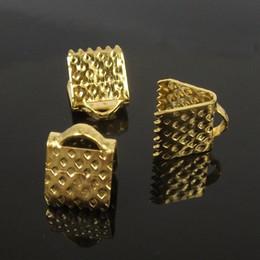 wholesale 6mm*8mm, 250pcs gold Plated Clips Ribbon Clamps Connectors ribbon crimp H7801