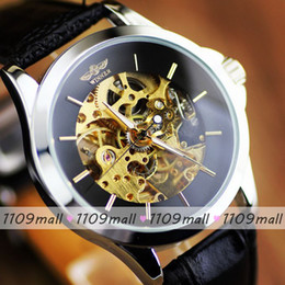 Wholesale Factory Price Unique Design Leather Skeleton Men Mechanical Brand Watch Good Waterproof Fashion Business Watch High Quality Good Service