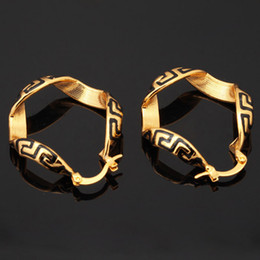 Wholesale Vintage G Brand K Real Gold Plated Earrings Basketball Wives Hoop Earrings Fashion Jewelry Gift For Women YE682