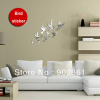 Wholesale funlife x42cm x16in Birds Flying Wall Stickers For Kids Room Refrigerator Decoration Interior Home