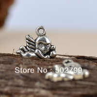 Charms Fashion Charms Wholesale Lots 60pcs Tibetan Silver Tone Alloy Baby Angles Charms pendants TS6060
