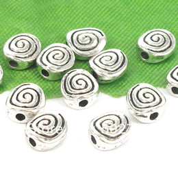Wholesale Tibetan silver Tone Thread pattern flat circular Spacer Beads Jewelry Finding
