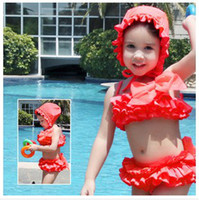 Wholesale 2014 Latest Fashion Baby Girs Lace Bikini Korean Children Lace Big Bow Tiered Swimsuit Kids Fashion Cute Flower Swimwear Cover Ups