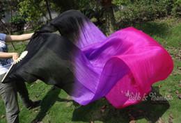 Wholesale Real Silk Fan Veil For Belly Dance cm Veil Fan Black amp Purple amp Rose