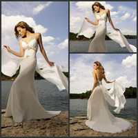 A-Line dhg - DHG Novias Charming Spaghetti Straps Beach Wedding Dress V neck Sexy Bridal Wedding Dresses Flowing Chiffon Bridal Gown
