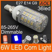 Бесплатная доставка E14 E27 G9 GU10 85-265V Dimmable 6W 36 SMD 5050 Светодиодная лампа с крышкой Corn Light Белый теплый белый Лампа для дома
