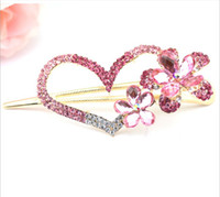 heart wedding jewelry - 2014 Love Heart Hair Pins Austria Crystal Pink Hair Clips Wedding Hair Jewelry C1215